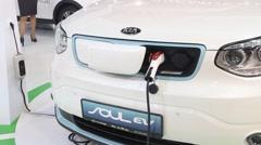 Kia electric car Soul ev on Belgrade Car Show Stock Footage