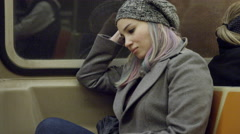Lady Riding MTA Subway Train - Attractive Urban Girl with Dyed Hair Lady NYC 4K - stock footage