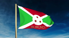 Burundi flag slider style with title. Waving in the wind with cloud background Stock Footage