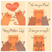 Sweet cards for Mothers Day with cats Stock Illustration