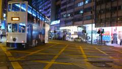 Double-decker transport with sound on the night street Stock Footage