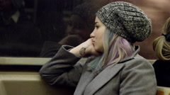 Attractive Urban Girl Dyed Hair - Woman Riding MTA Subway Train - Lady 4K NYC Stock Footage