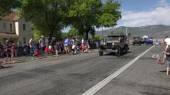 Rural community parade kids grabbing candy 4K Stock Footage