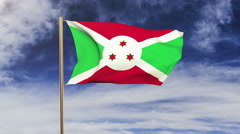 Burundi flag waving in the wind. Green screen, alpha matte. Loopable animation Stock Footage