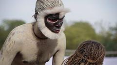Man Monkey at Elephant Festival,Jaipur,Rajasthan,India Stock Footage