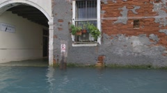 Flooded Venice street tracking shot - stock footage