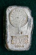 Alaska Mint Assay Bar - Silver Bullion - stock photo