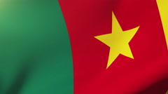 Cameroon flag waving in the wind. Looping sun rises style.  Animation loop Stock Footage