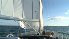 Sailing boat marine navigation on summer calm sea Stock Footage