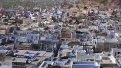 View over rooftops of old town,Bundi,Rajasthan,India Stock Footage