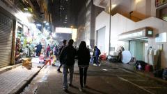 Walking on the night street of HongKong Stock Footage