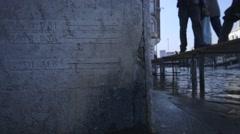 Venice flood marks on wall Stock Footage