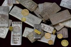 Gold and Silver Bullion - stock photo