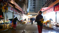 Open market in night, detached part, scarcity of people Stock Footage