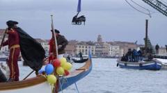 Venice, Veneto, Italy - February 1 2015: Venice Carnival water parade boats Stock Footage