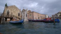 Water view of beautiful piazza flooding Stock Footage