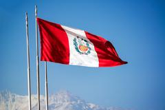 Peruvian Flag Waving in the Wind - stock photo