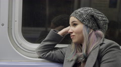 Pretty Urban Girl with Dyed Hair Woman Riding MTA Subway Train Lady 4K NYC Stock Footage