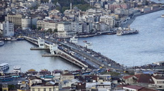 Aerial view of Istanbul city, skyline, Bosphorus, marine traffic,  Galata Bridge Stock Footage