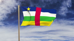 Central African Republic flag waving in the wind. Green screen, alpha matte Stock Footage