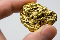 One Troy Ounce Natural Gold Nugget - stock photo