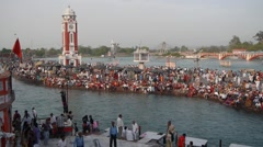 Main bathing ghat,Haridwar,India Stock Footage