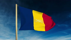Chad flag slider style with title. Waving in the wind with cloud background Stock Footage