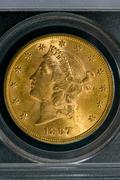 1897 United States $20 Gold Coin - stock photo
