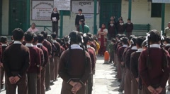 Indian school kids line up before start of the school,Bharmour,Himachal,India - stock footage