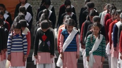 Indian school kids scant before start of the school - stock footage