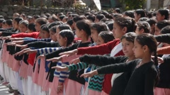 Indian school kids scant before start of the school,Bharmour,Himachal,India Stock Footage