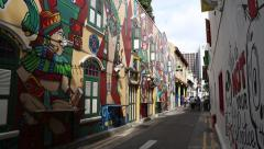 Graffiti on street art in Kampong Glam in Singapore - stock footage