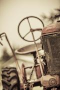 Old Red Vintage Tractor Stock Photos
