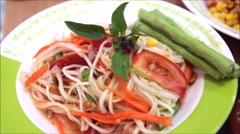 Thai papaya salad and corn salad with shrimp Stock Footage