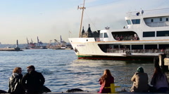 Passenger ferryboats of Istanbul: departing Stock Footage