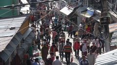 Busy street with pedestrian,Shimla,Himachal Pradesh,India - stock footage