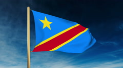 Democratic Republic of the Congo flag slider style. Waving in the wind with Stock Footage