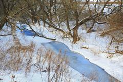 River in winter forest, ice, snow, landscape, nature - stock photo