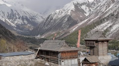 View of temple and mountains,Chitkul,Kinnaur,India Stock Footage