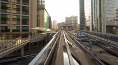 POV Time Lapse of Urban Train Yurikamome in Tokyo, Japan in the Daytime Stock Footage