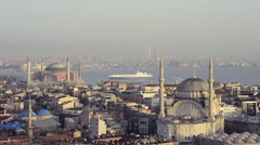 Aerial view of Istanbul city, skyline, Nuruosamine, Hagia Sopia, marine traffic  Stock Footage