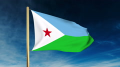 Djibouti flag slider style. Waving in the wind with cloud background animation Stock Footage