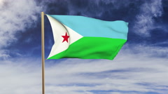 Djibouti flag waving in the wind. Green screen, alpha matte. Loopable animation Stock Footage