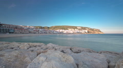 Sunset at Small town of Sesimbra (Portugal), panorama timelapse Stock Footage