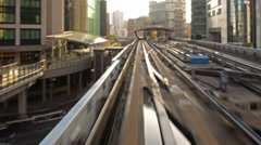 4K POV Time Lapse of Urban Train Yurikamome in Tokyo, Japan in Daytime -Close Up Stock Footage