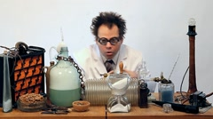 Genius doing experiments in the laboratory Stock Footage