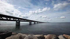 Oresund Bridge,oresunds bron, ,rainy day and time lapse with beutiful clouds - stock footage