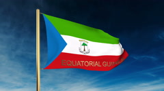Equatorial Guinea flag slider style with title. Waving in the wind with cloud Stock Footage