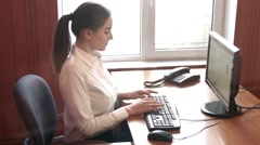 Young Woman Working on the Computer Stock Footage