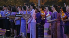 People give present for princess Sirindhorn,Ubon Ratchathani,Thailand Stock Footage